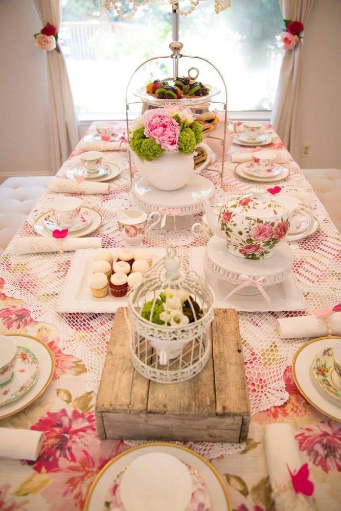 What a stunning tea party birthday party! See more party ideas at CatchMyParty.com! More