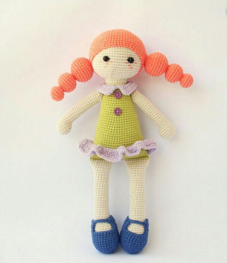 Amigurumi top top saçlı örgü oyuncak bebek modeli yapılışı anlatımlı