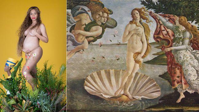 Konstprofessorn: Det betyder Beyoncés gravidbilder | SVT Nyheter Sittandes framför ett stort blomsterarrangemang med en grön slöja över huvudet meddelade Beyoncé för världen att hon och maken Jay Z väntar tvillingar. Bilden ska signalera kvinnlighet och föra tankarna till renässansen, enligt konstexperter.