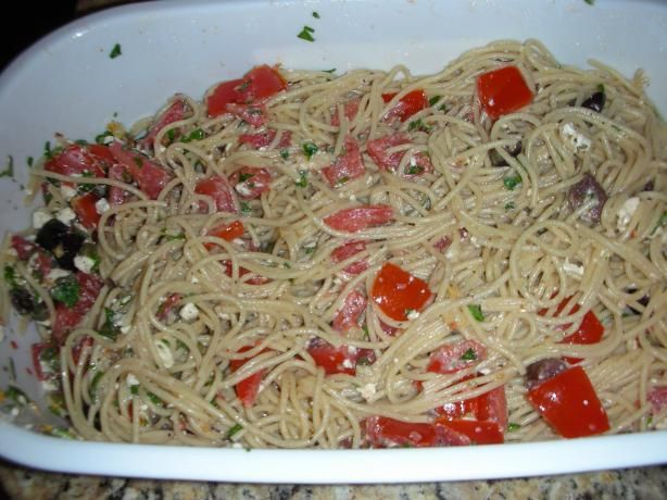 Greek Spaghetti Made this last night and it was so good! Next time I might cut back on the capers and add some roasted red peppers. We also added some rotisserie chicken to it and it was great!