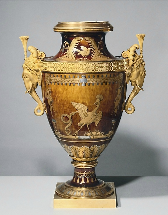 "Vase acquired by""Louis XVIII"" at the Exposition of Manufactory Works of 1818 as a gift for his brother, the Count d'Artois, later Charles X, and as a result they were named vases ""of Monsieur"" (meaning ""of the King's brother""). ca, 1817"
