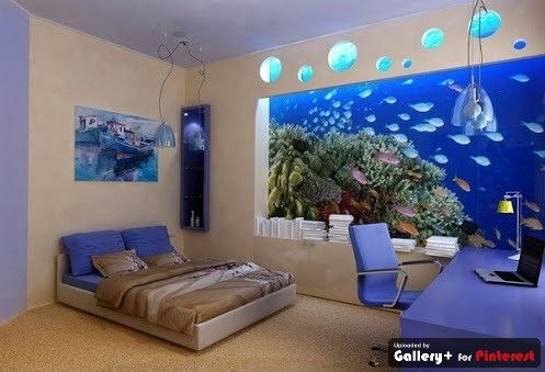 Bedroom aquarium fish tanks pinterest for Bedroom fish tank