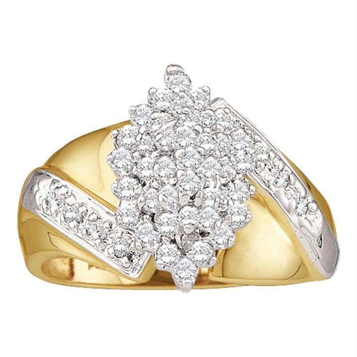 10kt Yellow Gold Women's Round Diamond Cluster Ring 1/2 Cttw - FREE Shipping (US/CAN)