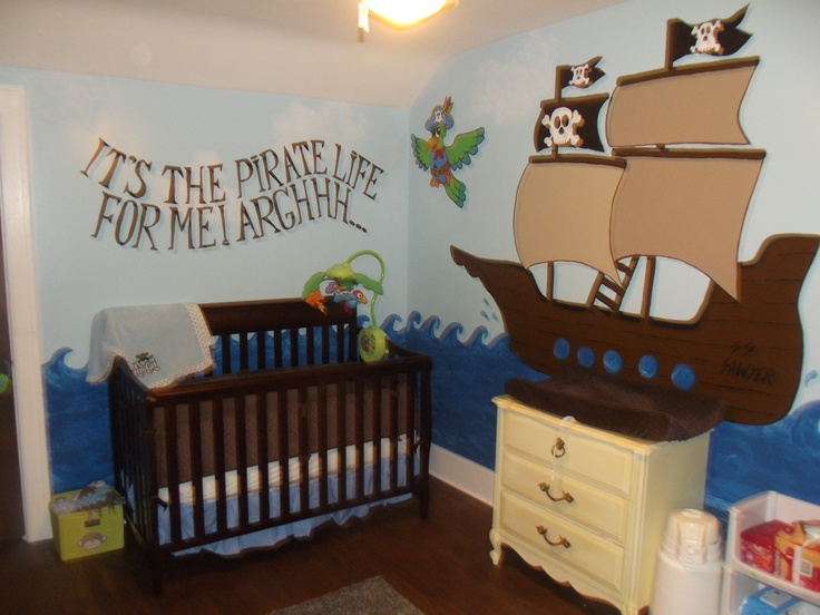 The Wall Treatment In This Pirate Nursery Is Awesome