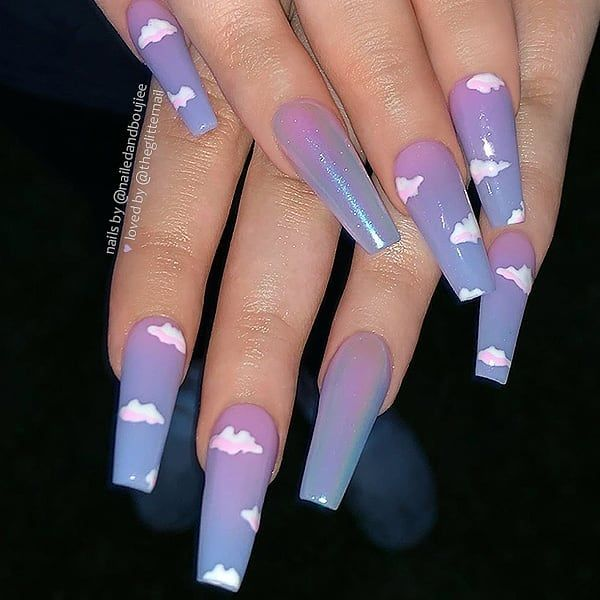 Purple Mix Blue Clouds Nails Pretty Acrylic Nails Ombre Acrylic Nails Nail Designs