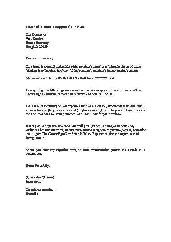 Financial Guarantee Letter Sample