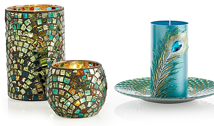 Teal/Green Mosaic Hurricane and Votive Holder with Peacock Feather Pillar from Pier 1     I want that Peacock one for my livingroom!