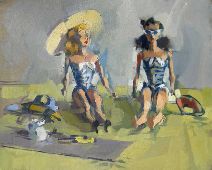 Bathing Beauties, 2010, 22 x 18 ins, oil on linen -MAGGIE SINER