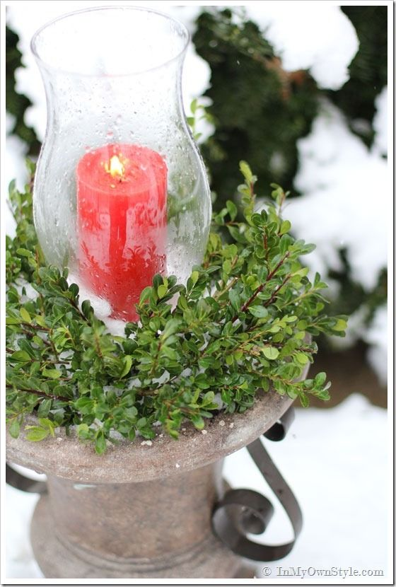 Outdoor Christmas Candle Planter - In My Own Style