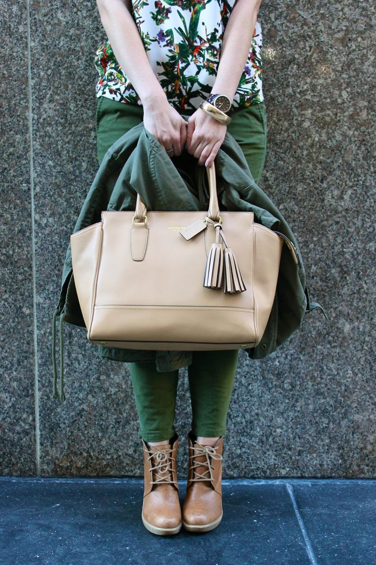coach tote and army green