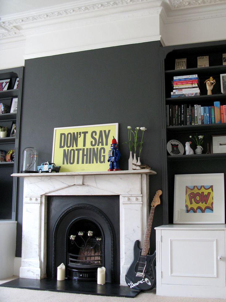 Bowler Hat Grey fireplace feature wall & bookshelves