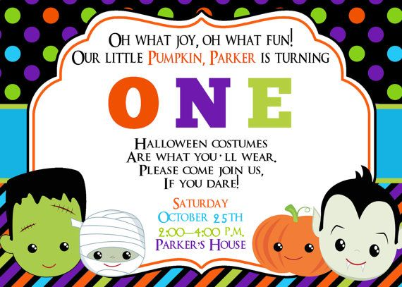 First Birthday Halloween Party Invitation Halloween Birthday Invitation Kids…