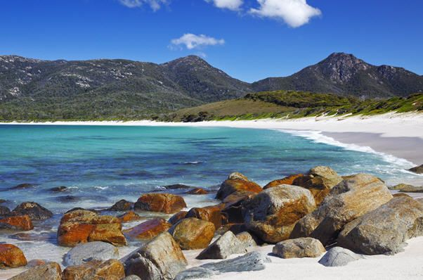 The stunning Wineglass Bay in Tasmania