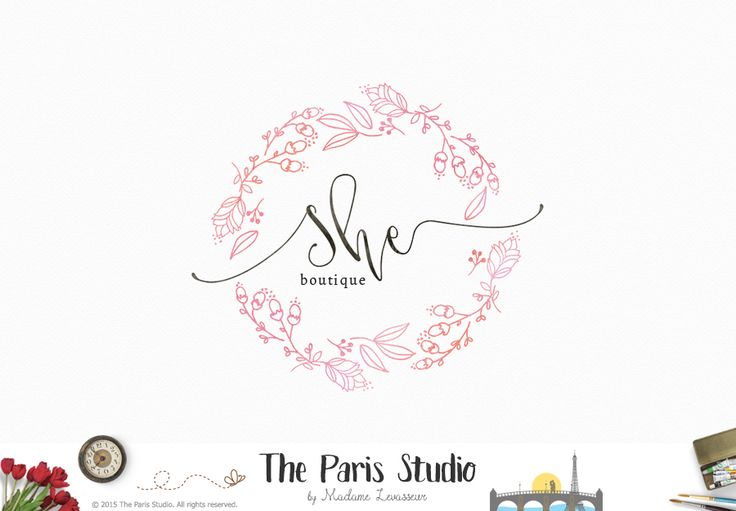 Hand Drawn Style Watercolor Wreath Logo Design - fashion logo, website logo, boutique logo,