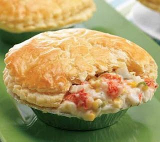 "Lobster Pot Pie Recipe. Cut in half use 6ea 4oz tails. Delicious. One 10"" pie."