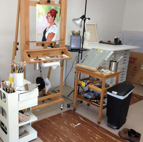 Home art studio setup oil painting area