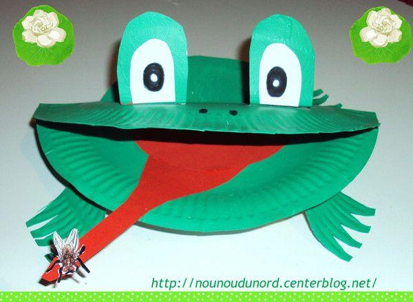 Très facileà faire la grenouille verte réalisée avec 2assiettes en carton    Prendre 2 assiettes en carton réalisé le découpage comme sur la photo sur une seule assiette et garder les chutesdécoupées ...