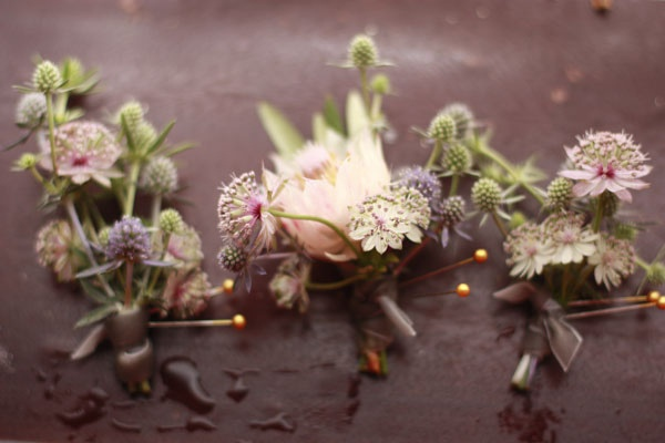 Pretty buttonholes by Honey & Poppies