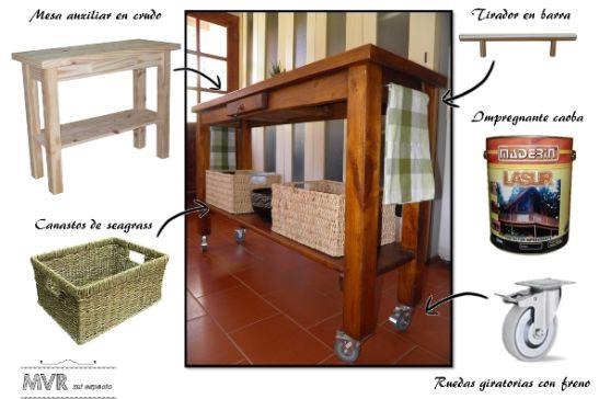 Mesa auxiliar convertida en isla para la cocina antes y for Mesa auxiliar para cocina
