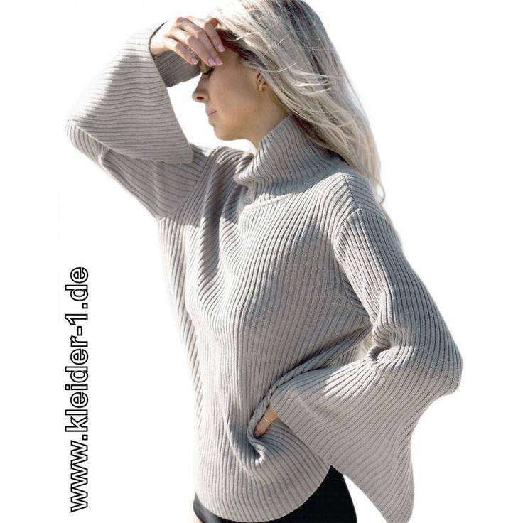 Damen Rollkragen Pullover in Silber