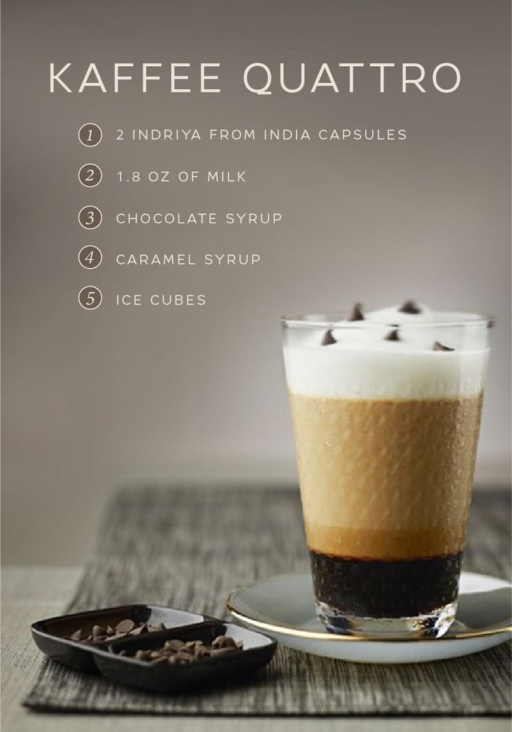 This Kaffee Quattro recipe from Nespresso is a delicious way to satisfy your sweet tooth. Savor the taste of rich Indriya from India Grand Cru mixed with indulgent chocolate and caramel syrup to create a sweet coffee beverage that will make any day feel that much better. Click here for the full easy recipe.