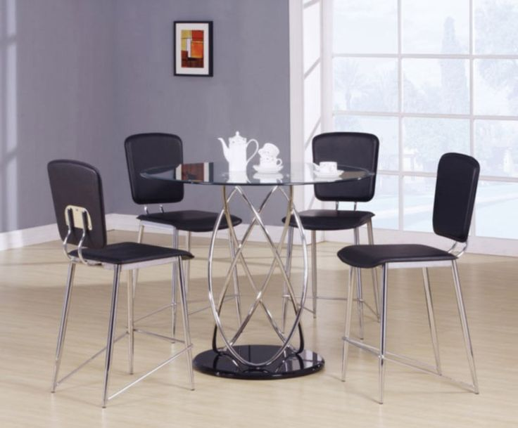 Acme Furniture - Deron 5 Piece Counter Height Table Set in Chrome/Black - 70935-5SET