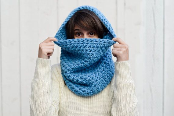 Simple Oversized Slouchy Cowl  The Monica  Sky Blue by knitbrooks