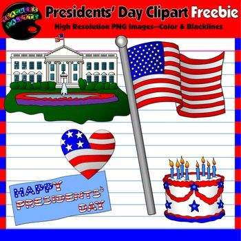 Presidents Day Clipart FreebiePatriotic ClipsIndependence Day Clips This free 10-image Presidents Day clipart set includes one colored PNG image and one black and white PNG version for each image shown.Your Download Includes:  Whitehouse (color) American Flag (color) Heart-shaped Flag (color) Patriotic Cake (color) Happy Presidents Day Banner (color) Whitehouse (black & white) American Flag (black & white) Heart-shaped Flag (black & white) Patriotic Cake (black & white) Happy...