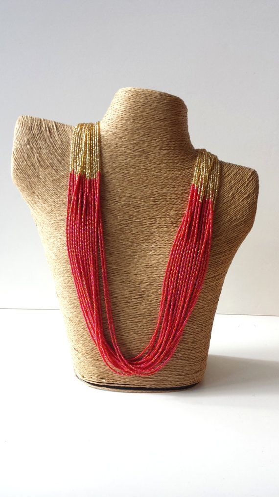 Iridiscent red and gold necklace, Christmas necklace, Holidays jewelry, red statement, beaded necklace, seed beads jewerly, red, gold