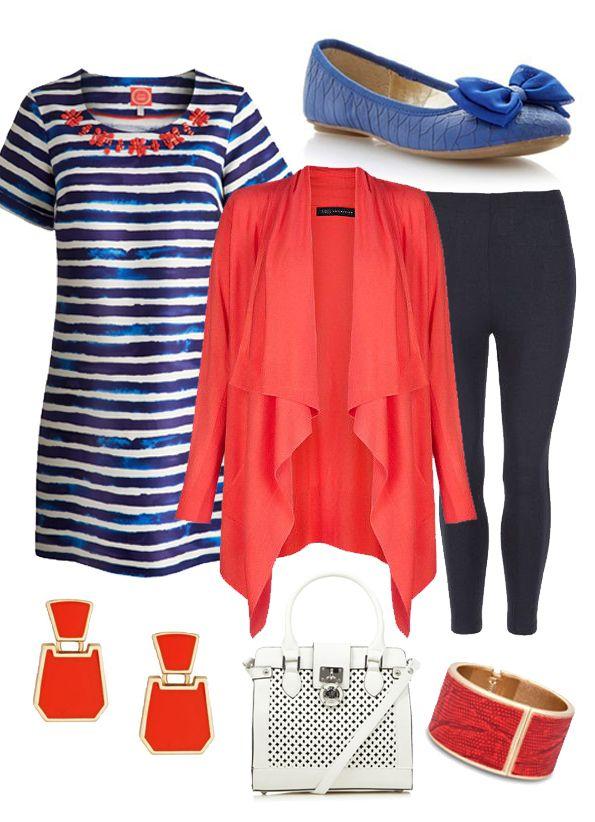 Tunic from Joules; Coral Waterfall Cardigan M&S; Navy Leggings M&S; Pumps £20 Debenhams; Coral Cuff Betty Jackson at Debenhams; Handbag Star by Julian Macdonald at Debenhams