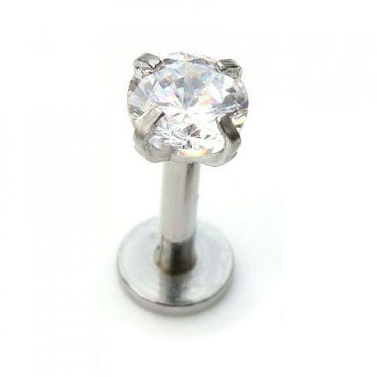 Labret de acero quirúrgico 316L con cristal de 2,2mm. Rosca interna.  Grosor: 1,2 mm. Largo: 8mm. Ideal para tu piercing de labio - labret o tragus