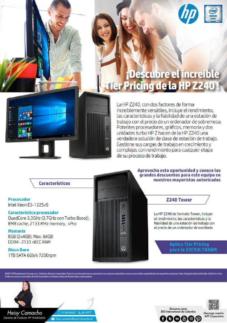 Descubre el increíble Tier Pricing de la HP Z240: Contacta a tu gerente de producto para más información: Heisy Camacho Celular: 310 773 8901 Email: heisy.camacho@sed.international #HP #SED #SEDCOLOMBIA