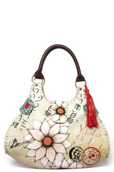 Desigual Japo Handbag - £89.00  Desigual women's Japo bag from the Cool line. Its smooth personality and the red tassel on the strap stand out. If you like that then you could always combine it with the matching Japo purse.