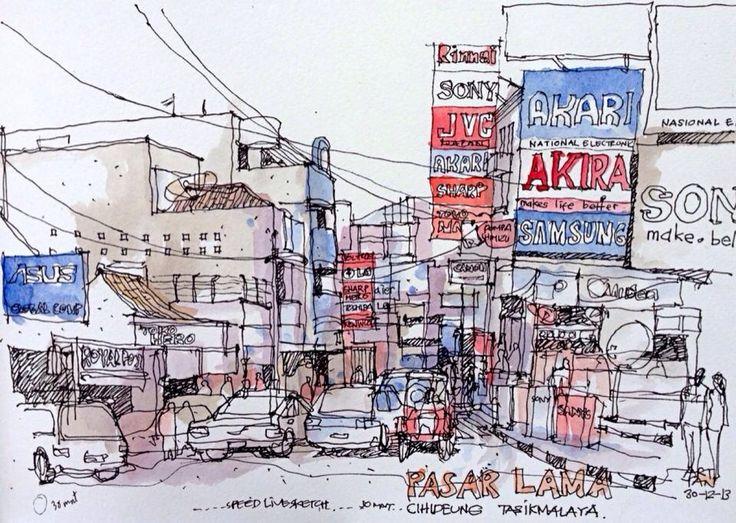 livesketch from pasar lama tasikmalaya