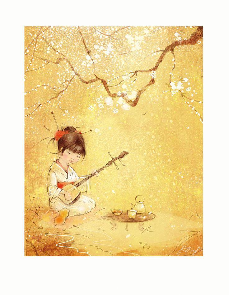 Фото Девочка с музыкальным инструментом пьет чай под сакурой, Екатерина Бабок