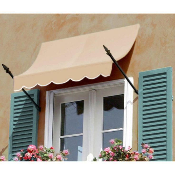 Awntech Beauty-Mark New Orleans 3 ft. Window/Door Awning Forest and White Stripe - NO21-3FW-STRAIV
