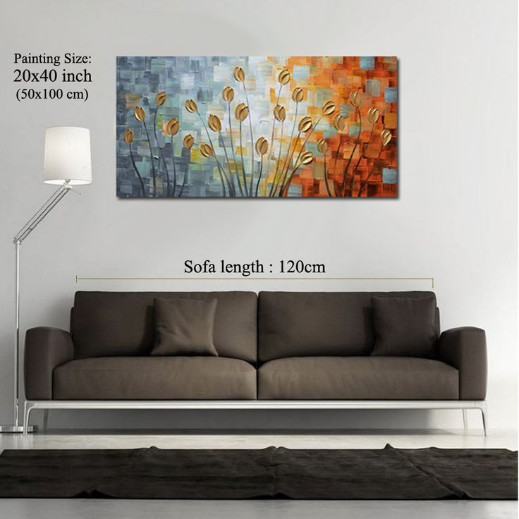 Asdam Art - Oil Paintings on Canvas Budding Flowers 100% Hand-Painted On Canvas Abstract Artwork Floral Wall Art Decorative Pictures Home Decor Golden (20X40 inch): Amazon.co.uk: Kitchen & Home