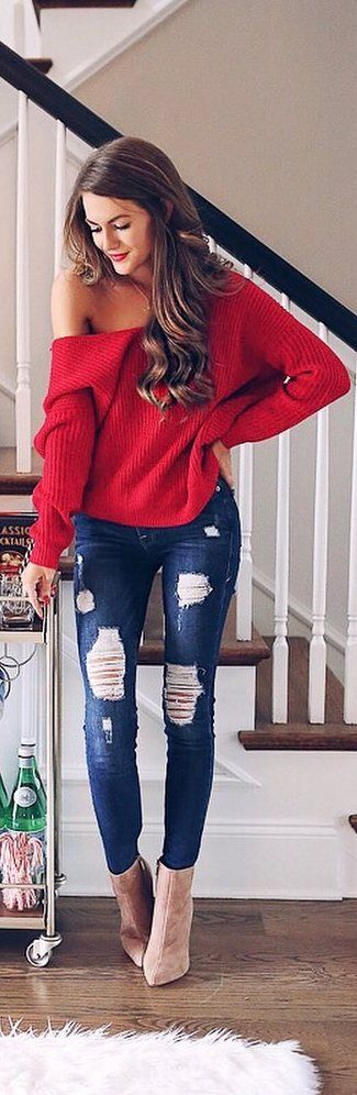 #fall #outfits red one shoulder sweater ripped jeans
