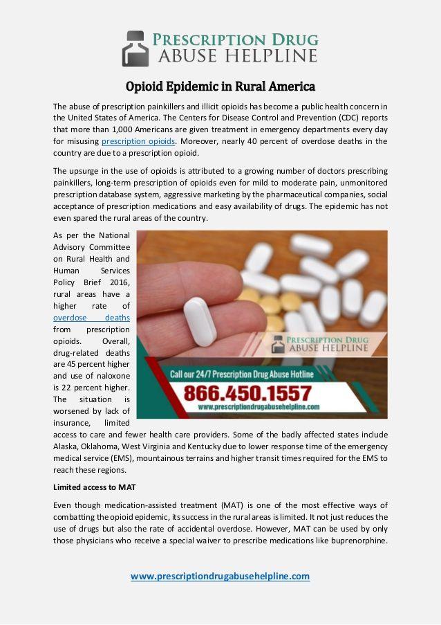 Opioid Epidemic In Rural America Prescription Drug Abuse Helpline