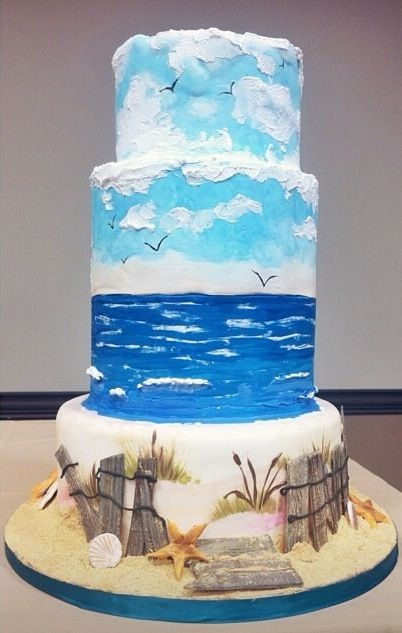 "Fine Arts Bakery recent cake I did for a demo on cake painting techniques for Capital Cinfectioners Day of Sharing's ""A Day at the Beach""."