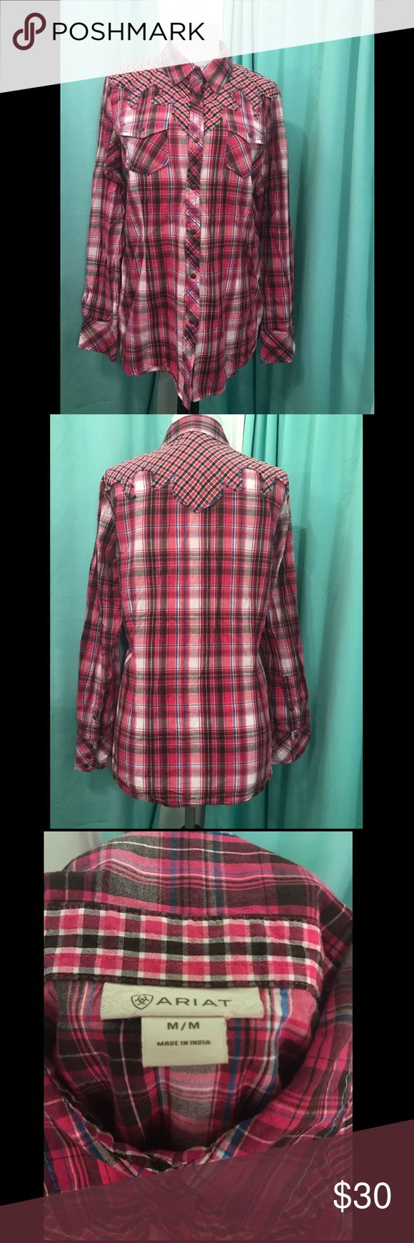 Ariat Pink flannel shirt Ariat pink flannel shirt, snap button up. Excellent condition. Smoke free, pet free. Ariat Tops Button Down Shirts