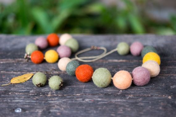 Set of Needle Felted Wool Beaded Necklace Matching With Earrings and a Bracelet, Merino Wool Beads Felted Light Jewellery