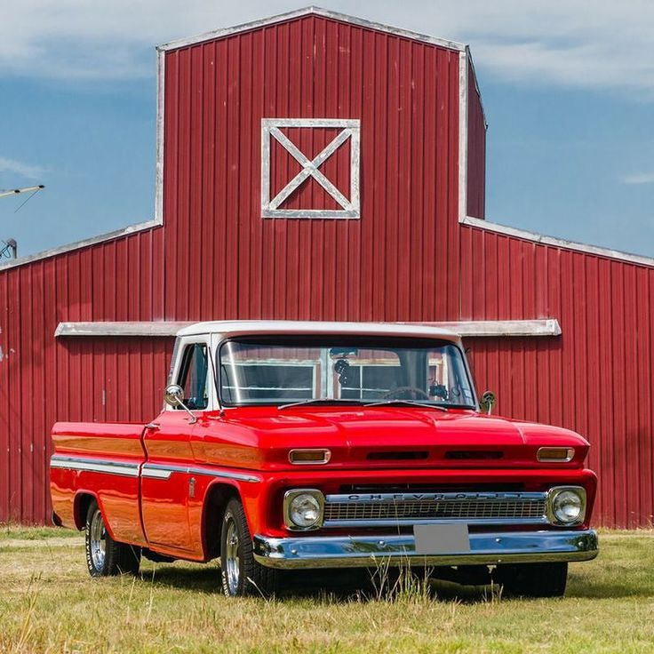 #TBT: Scott Hales' dad used a 1964 Chevy on their farm when Scott was growing up so when he saw this 1964 Chevy C10 in a Craigslist ad he bought it and fixed it up.  #chevytruck #chevytrucks #chevy #chevyc10 #c10 #farmtruck #redtruck #shinyredtruck #truckproject #truckrestoration #trucklife #lmctruck