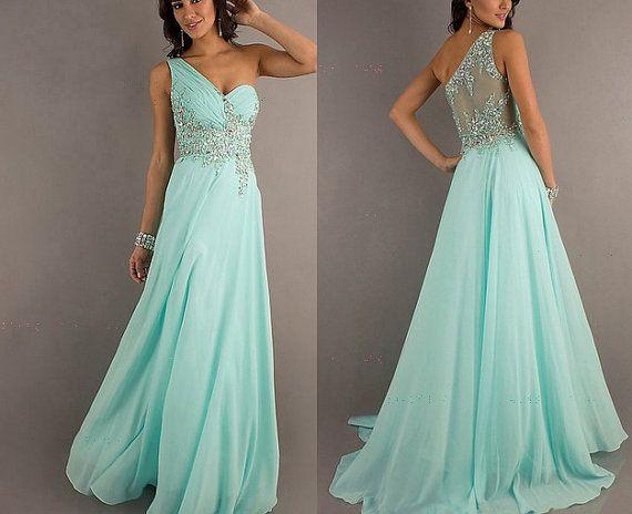 Mint Beaded Chiffon Prom Dress Ball / Homecoming / Graduation / Cocktail / Evening / Formal / Party / Bridesmaid Dress