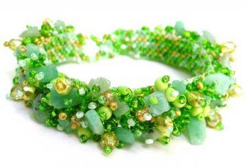 Stone Caterpillar Bracelet - Tulip Green - 2okeefes.com $30