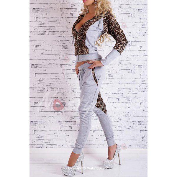 Elegante manica lunga con cappuccio di leopardo con cappuccio + pantaloni con coulisse Twinset femminile