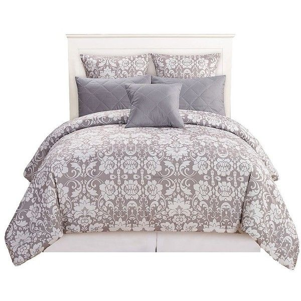 Kensie Lola 6-Piece Comforter Set (83 CAD) ❤ liked on Polyvore featuring home, bed & bath, bedding, comforters, light grey, king pillowcases, damask bedding, king comforter set, kensie and king comforter