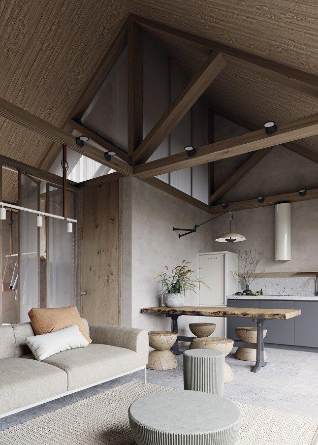Une cuisine et une salle de bain au design béton dans un appartement ...
