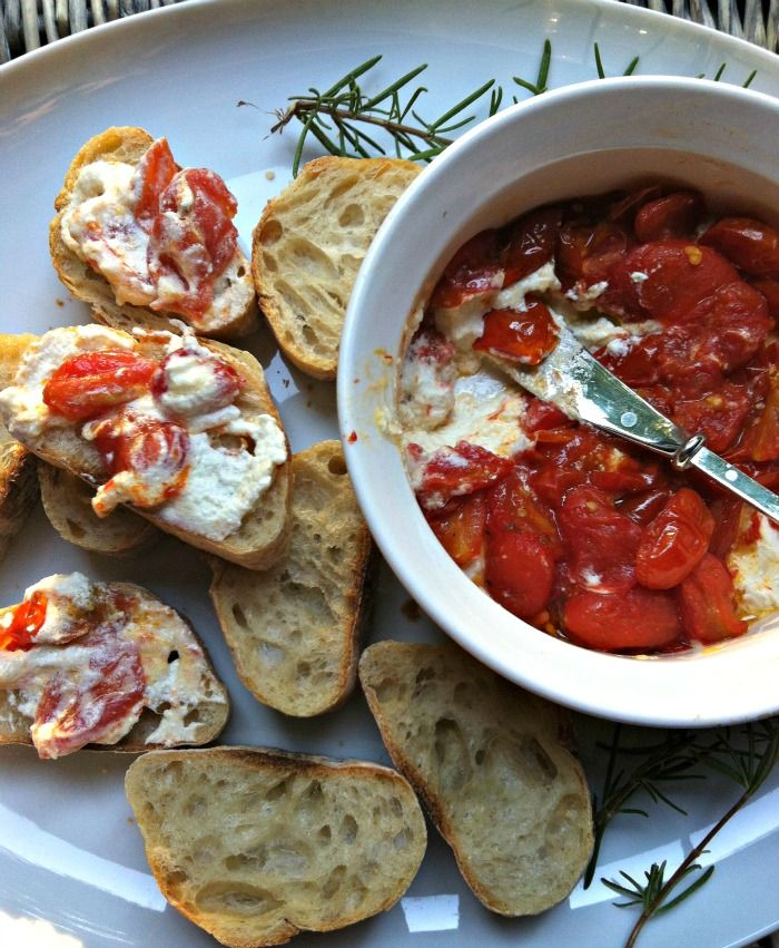 Roasted Tomato and Whipped Goat Cheese Dip; a warm, gooey tomato and goat cheese dip. barefootstyling.com