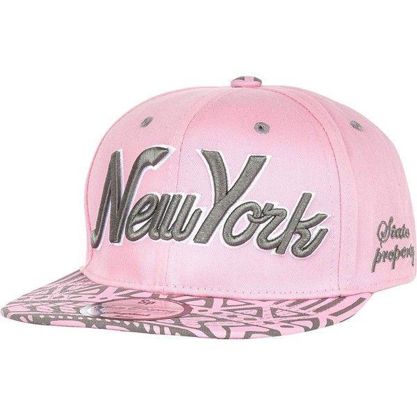 River Island Girls pink NY aztec snapback hat